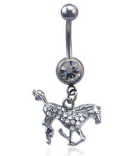 Horse Pony Mustang Dangling Charm Navel Belly Ring Body Piercing Jewelry br9clr