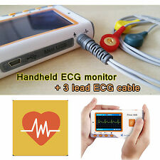LCD Portable ECG Machine EKG Heart Rate Monitor Electrocardiograph + ecg cable