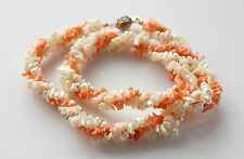 Angel Skin Coral Chip Freshwater Pearl Three Stand Necklace