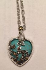 *SALE* Sterling Silver Marcasite & Turquoise Heart Necklace