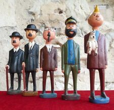 Complete Collection TINTIN - Large wooden sculptures and hand painted ( 35 cm )
