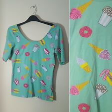 H&M Divided Size M 10 12 Ice Cream Donut Popcorn Green Kawaii Top Unicorn Kitsch