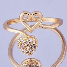 Fancy Womens Heart Ring Cubic Zirconia Yellow Gold Filled Adjustable  Size 8