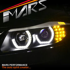 Black High Power 3D Angel Eyes projector Head Lights BMW E90 E91 05-08 Headlight