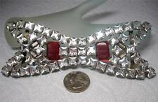 "Huge 5 3/4"" Long Ultra Rare Antique Victorian Rhinestone 2 piece Belt Buckle"