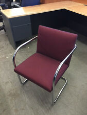GUEST/SIDE CHAIR by KNOLL INTERNATIONAL INC. MODEL BRUNO in BURGUNDY COLOR