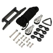 Kayak Canoe Anchor Trolley System Pulley Cleat Pad 30ft Rope Accessories N1P9