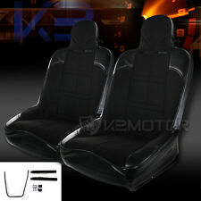 2x Black Off-Road SPort Racing Seat Black CF Patter Bucket Style Seats