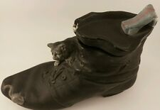 Cat and Mouse Boot Shoe Terracotta Figural Spill Vase Circa 1850 Germany