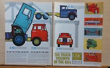 1961 two page magazine ad for GMC Trucks - Tilt Cab BBCs, engines, Suburban