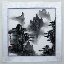"Chinese painting landscape hand painted 16x16"" feng shui brush ink small art"