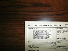 1973 Dodge & Plymouth Series 150 HP 318 CI V8 SUN Tune Up Chart Great Condition!