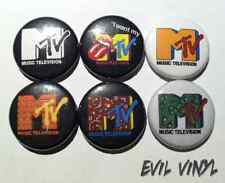 "Set of 6 MTV Buttons 1"" Vintage Retro Pin 80s 90s Music Logo Butthead Neon Art"