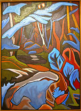 """Louisa Boehmer Signed 1992 Abstract Oil Painting On Canvas Titled """"Wet Path"""""""