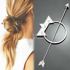 Victorian Silver Dot Triangle Hoop Arrow French Updo Hair Pin Clip Dress Stick