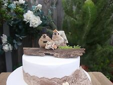 "Burlap Hessian Rustic Bride & Groom ""Love Birds""  Wedding Cake Topper Set"