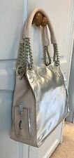 Arcadia Handbag Metallic Silver / Nude Leather Shopper Italian BNIB