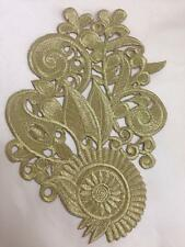 Gold Floral Motif Iron/sew on embroidered flower embellishment applique 19.5x13c