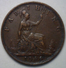 1886 Copper Farthing Great Britain UK Coin XF