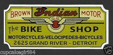"INDIAN & BICYCLES MOTORCYCLE ""The Bike Shop"" GARAGE GAS STATION STICKER DECAL"