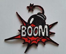 "NOVELTY CARTOON SUPERHERO ""ACTION BURST"" SEW ON / IRON ON PATCH:- BOOM!"