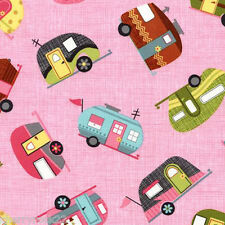 Per ½ Metre - Timeless Treasures MOTORHOMES Caravan Trailer Fabric - Pink