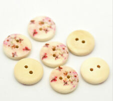 """Lot of 10 BUTTERFLY 2-hole 5/8"""" (15mm) Wooden Buttons Scrapbook (1844)"""
