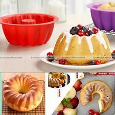 2PCS Ring Silicone Bakeware Mould Chiffon Cake Pan Bread Pastry Baking Mold Tool
