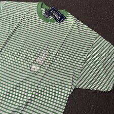 90s VTG NWT Striped GRUNGE T Shirt SURF Green L White SKATE Oversized 50/50 Soft