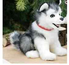 "12"" Sitting Grey Husky Puppy Dog Plush Stuffed Animal Toy - New"