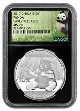 2017 China 10 Yuan 30g Silver Panda NGC MS70 ER Panda Label Black Core SKU43854