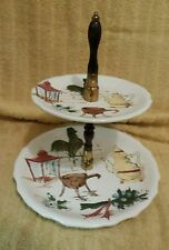 Vintage 1960s Enesco Counrty 2 Tier Centerpiece Tidbit Serving Plate Dish Tray