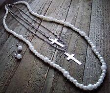 Statement Faux Pearl Dangle Cross Long Multi Line Necklace Earrings Set Jewelry