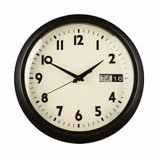 30CM DIA RETRO BLACK METAL WALL CLOCK DAY DATE CLEAR FACE BLK NUMBERS