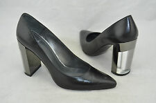 Stuart Weitzman 'Nupower' Black Leather Pointed Toe Clear Heel Pumps Size 5 M