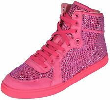 NEW Gucci Women's Coda Pink Satin Effect Crystal Stud High Top Sneakers 39.5