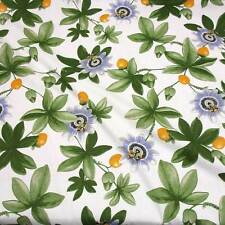 Stoff Meterware Baumwolle Passionsblume Maracuja Schweden Landhaus Stil weiß Neu