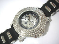 Techno King Bling Bling Big Case Rubber Band Men's Watch Silver Item 2062