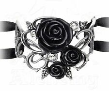 Bacchanal Black Rose Grapes Ornate Romantic Ribbon Bracelet A106 Alchemy Gothic