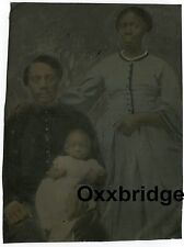 BLACK SOLDIER CIVIL WAR TINTYPE PHOTO Family Wife Child Free Slave Negro Freed