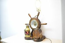 Vintage Ship Wheel Table Lamp with Barometer