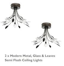 2 x Glass & Leaves Ceiling Light Chandelier Pendant Fitting Rich Dark Chocolate