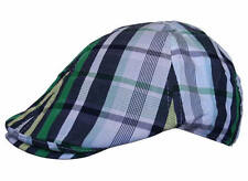 Country Check Golf Cabbie Newsboy Plaid Multi-Striped 100% Cotton Flat Cap Hat
