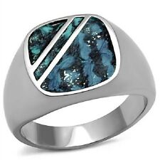 AGNES CREATIONS / BAGUE HOMME CHEVALIERE ACIER INOXYDABLE & CUIR TAILLE 57 A 70