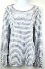 Lucky Brand Women XL Blue Stripe Red Detail Top Blouse T-Shirt Pullover NEW NWT