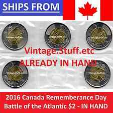 IN HAND 5-PACK 2016 Canada $2 The Battle of the Atlantic Rememberance Day UNC