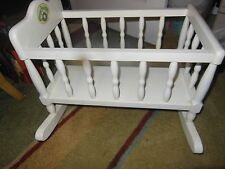 Vintage Cabbage Patch Kids White Wooden Crib Cradle Bassinet Rocker Dolls Toys
