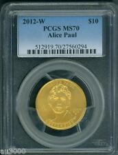 2012-W $10 Gold Spouse Alice Paul & Suffrage Movement Pcgs Ms70 Ms-70 Perfect !