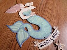 Mermaid Ornament Beach StarfishTropical Nautical Blissful Beach Tin Sign