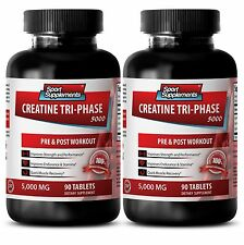 Creatine Monohydrate Tablets - Creatine Tri-Phase 5000 mg - Boost Weight Gain 2B